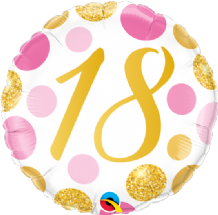 "18 Birthday Pink & Gold Dots Foil Balloon (18"") 1pc"